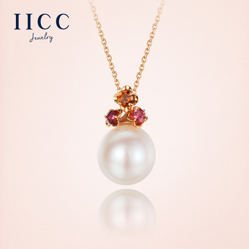IiCC18K gold tourmaline pendant rose gold inlay natural freshwater pearl necklace female clavicle chain jewelry