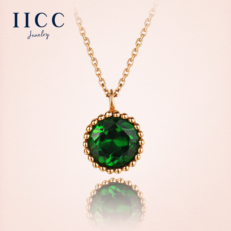 IiCC18K large particles of natural green tourmaline rose gold colored gemstone pendant necklace female birthday gift necklace