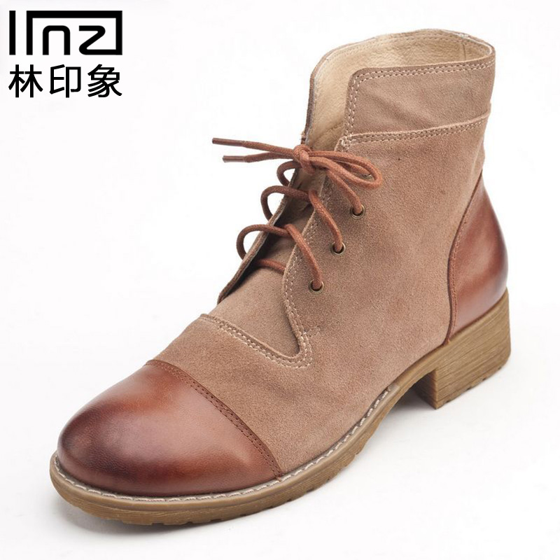 Iinzi genuine forest impression handmade leather stitching retro casual warm thick with lace boots waterproof comfort