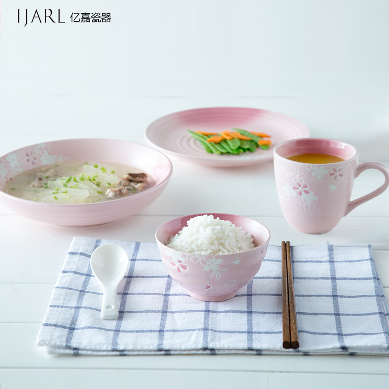 Ijarl billion ka creative people eat a bowl japanese tableware ceramic tableware plate cherry suit
