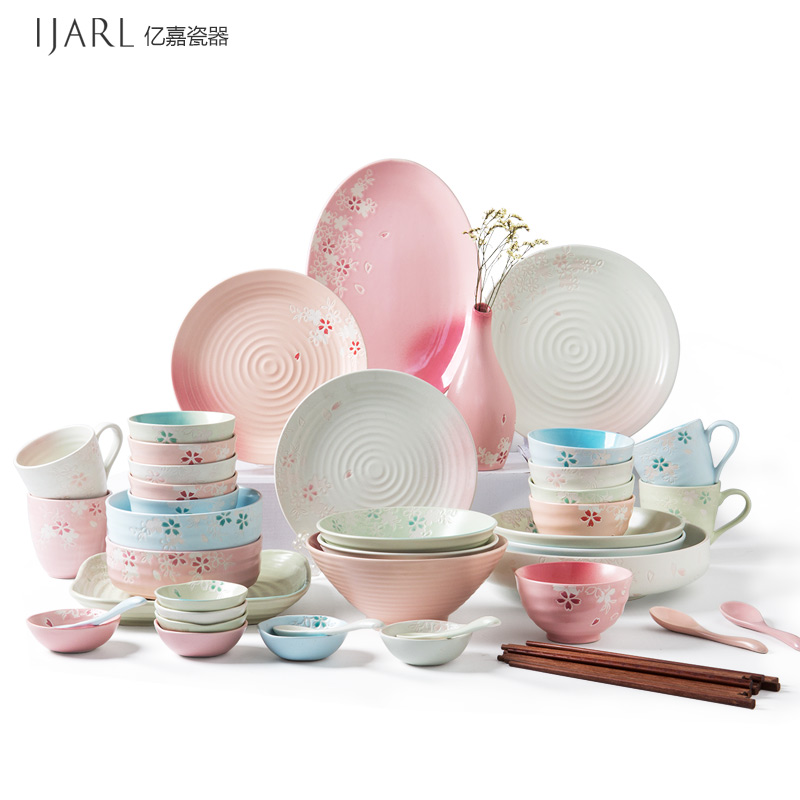 Ijarl billion ka painted ceramic tableware creative japanese dishes dishes dishes suit wedding housewarming cherry blossoms
