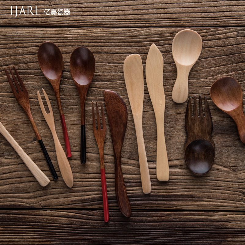 Ijarl billion ka retro superba phoebe guacamoie milk spoon fruit fork knife household rubber wood wood wood