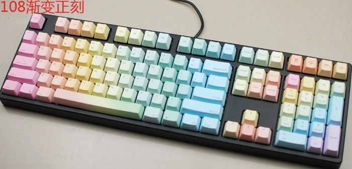 Ikbc pbt104 dichroism keycaps rainbow/108 special keycaps mechanical keyboard side engraved keycaps