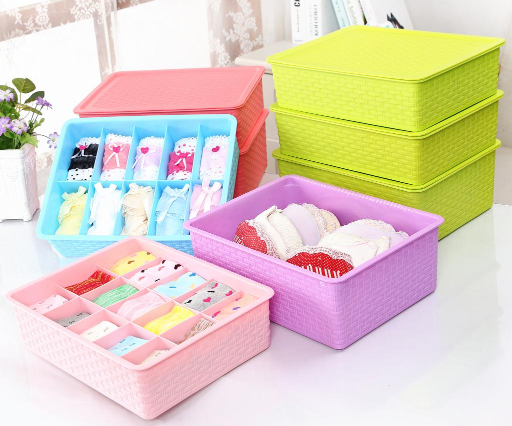 Imitation rattan storage box underwear pants within thick plastic storage box covered storage box bra underwear socks finishing drawer storage box