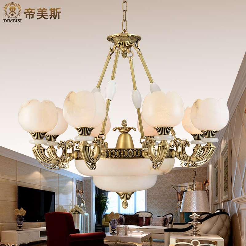 Imperial mae import class a natural marble chandelier real marble full copper lamps living room bedroom villa european lighting