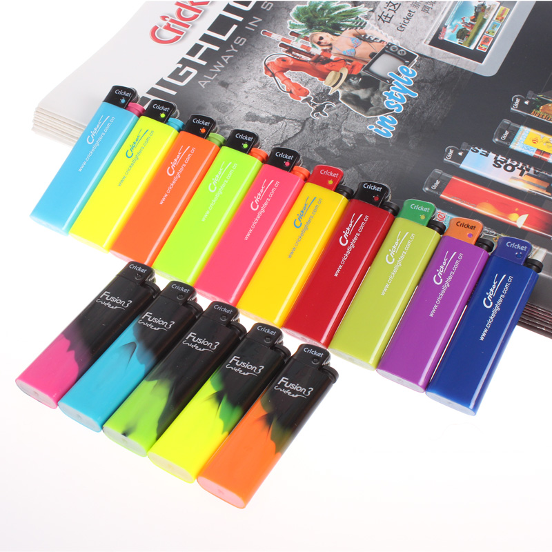 Import grasshoppers cricket disposable lighters flint wheel lighter nylon three mixed