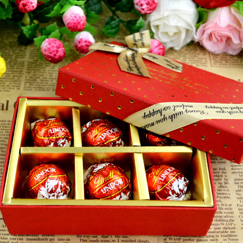 Get Quotations Imported Soft Heart Lindt Milk Chocolate Sandwich 6 Tablets Candy Wedding Favor Gift Box