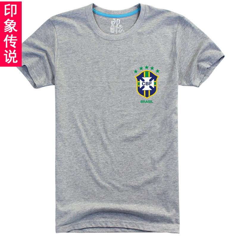 Impression legend 2014 brazil soccer jersey t-shirt of the new world fans jersey short sleeve half sleeved shirt tide couple