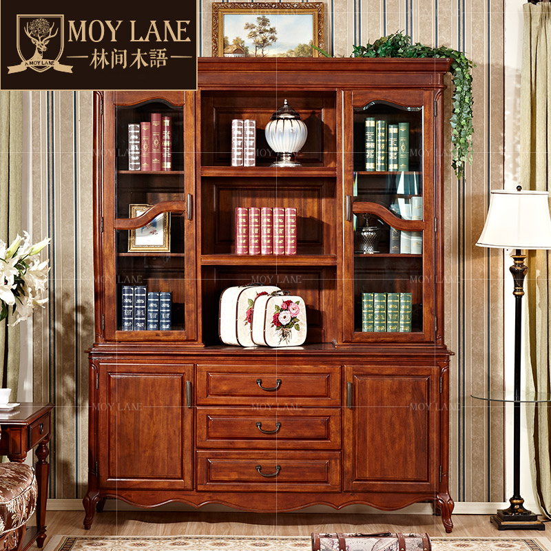 In forest wood three wood bookcase bookcase combination of minimalist modern european american furniture hidden bookcase showcases yg