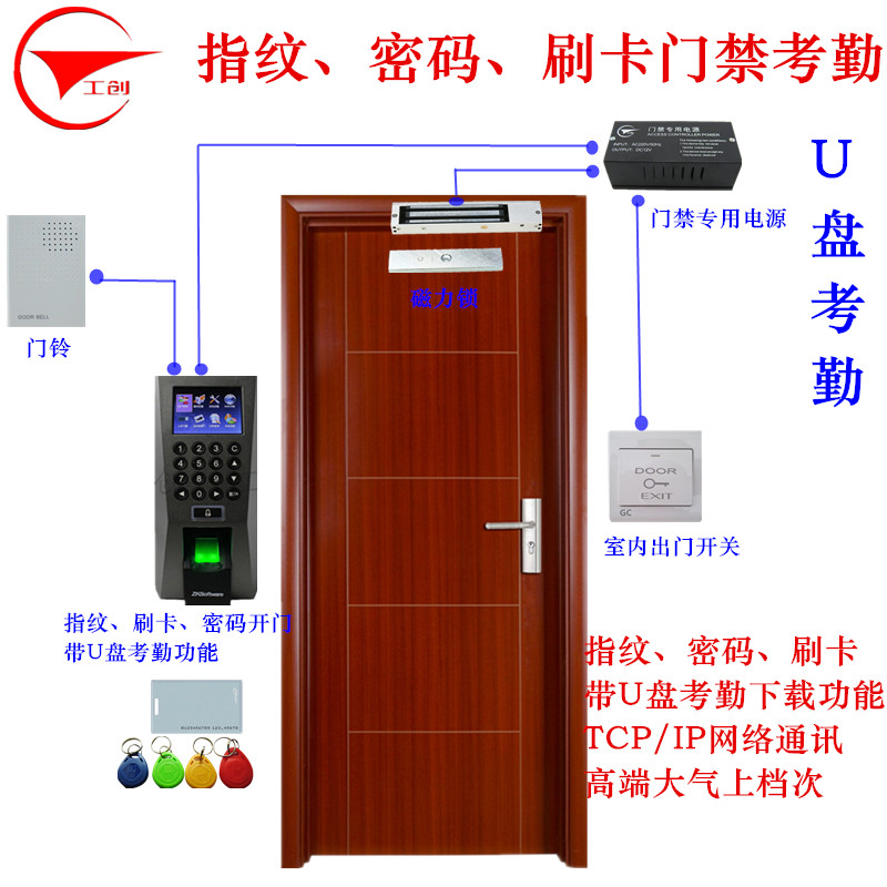 In the control F18-ID fingerprint swipe card access control systems access the entire kit electric locks magnetic lock glass door wooden door