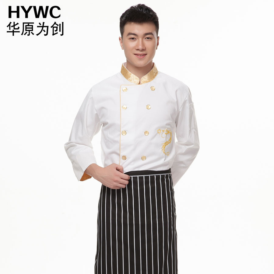 In the embroidered dragon chef service hotel chef clothing chef sleeved overalls hotel restaurant chef kitchen chef clothes fall and winter clothes men