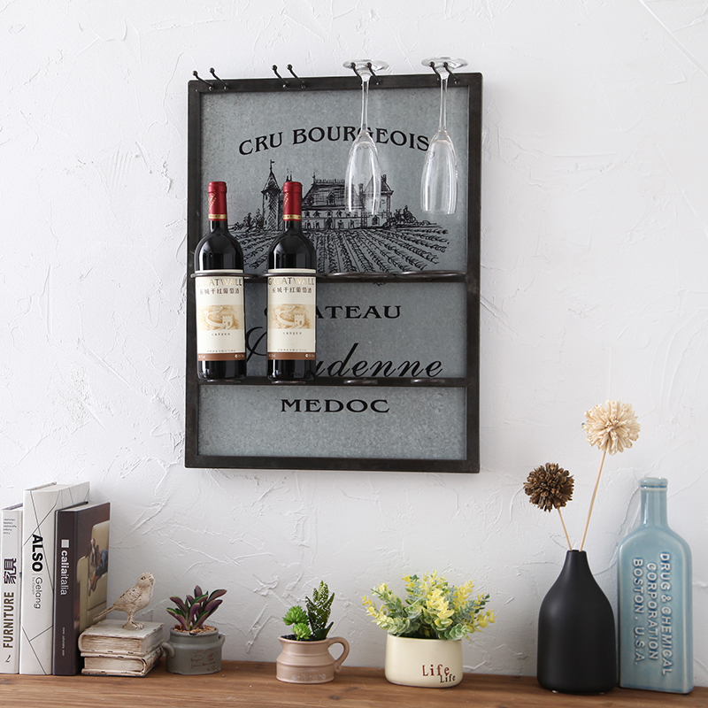 Industrial retro style wrought iron wall wine rack creative home soft wall decorations wall hangings bar personalized crafts