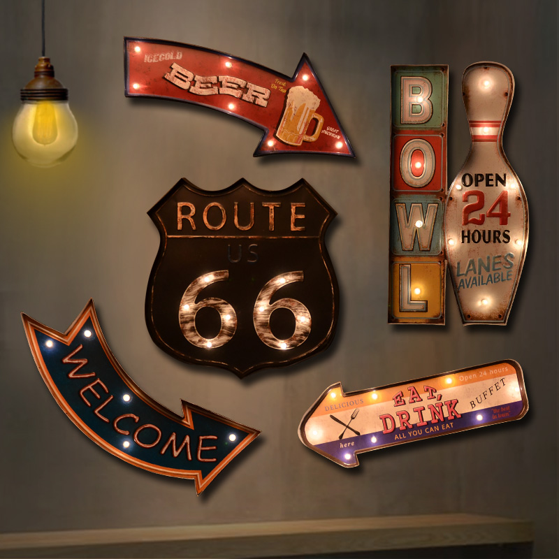 Industrial wind retro cafe bar wall soft decorations led lights shop backdrop creative wall hanging