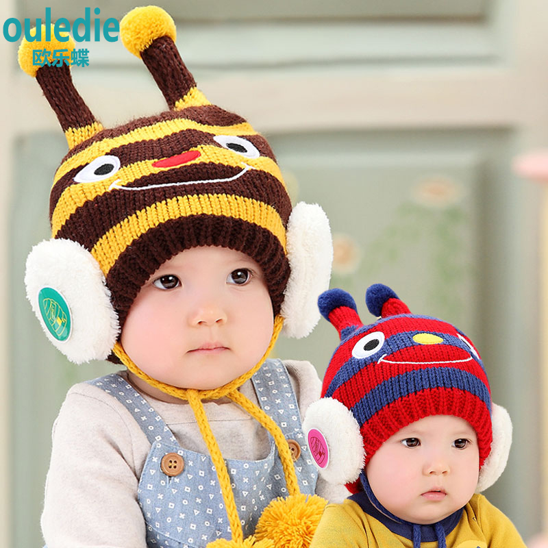 Infants and children baby hat wool hat knitted hat ear cap for boys and girls thick warm autumn and winter hat