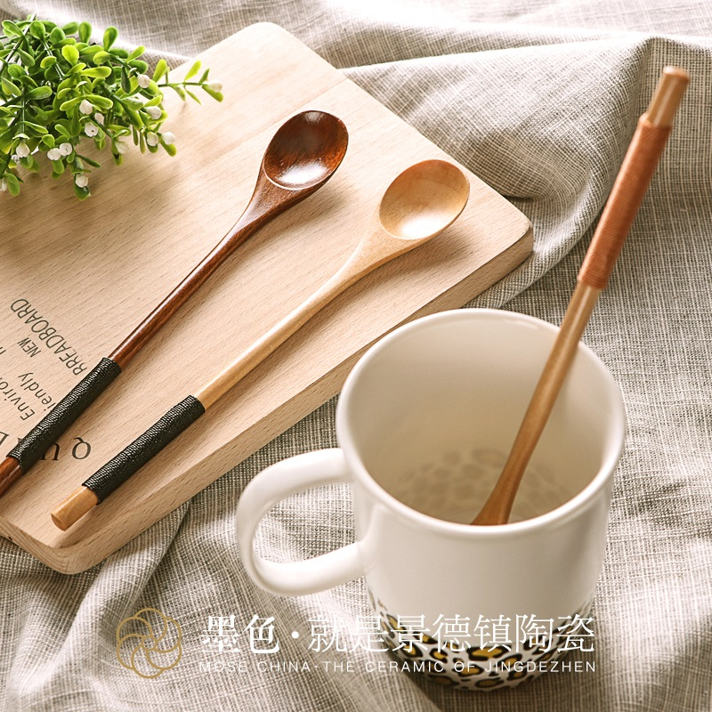 Ink japanese skillet wooden spoon small spoon spoon natural environment wooden spoon creative spoon spoon spoon home