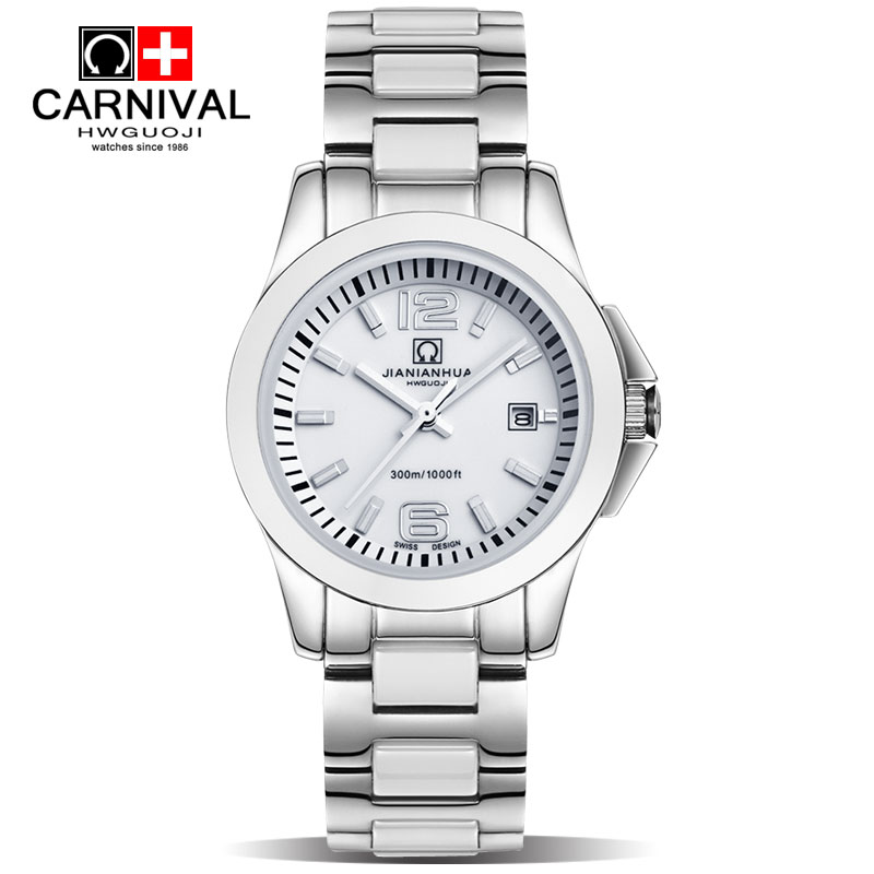 Installment purchase authentic korean version of the carnival brand minimalist watches automatic mechanical watches white ceramic watches female models