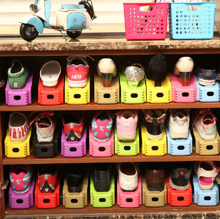 Integrated storage shoe rack shoe rack shoe shoes support stereotypes load creative double plastic shoe storage shelf shoe rack shoe care