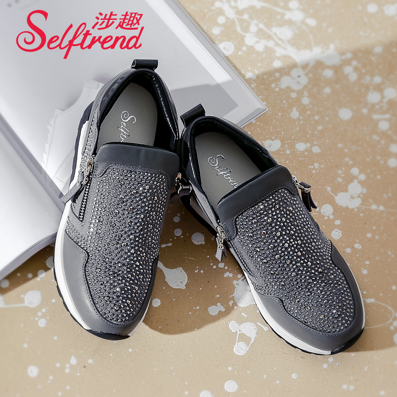 Interest involving 2016 korean version of sparkling rhinestones female fashion casual shoes sports shoes autumn new round students