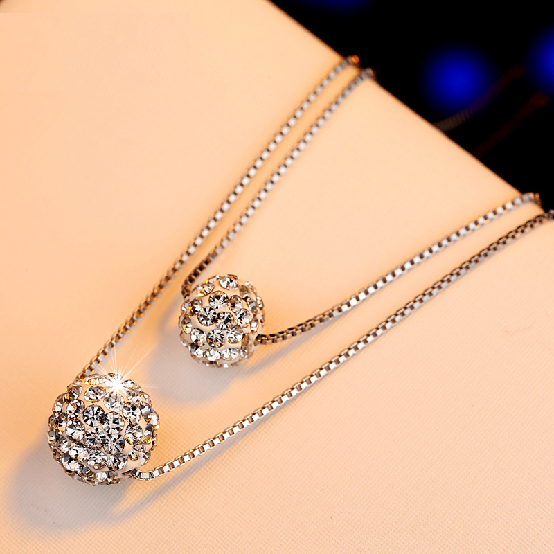 Iraq洛传芳| double crystal ball pendant 925 silver necklace female korean fashion short paragraph clavicle chain silver jewelry