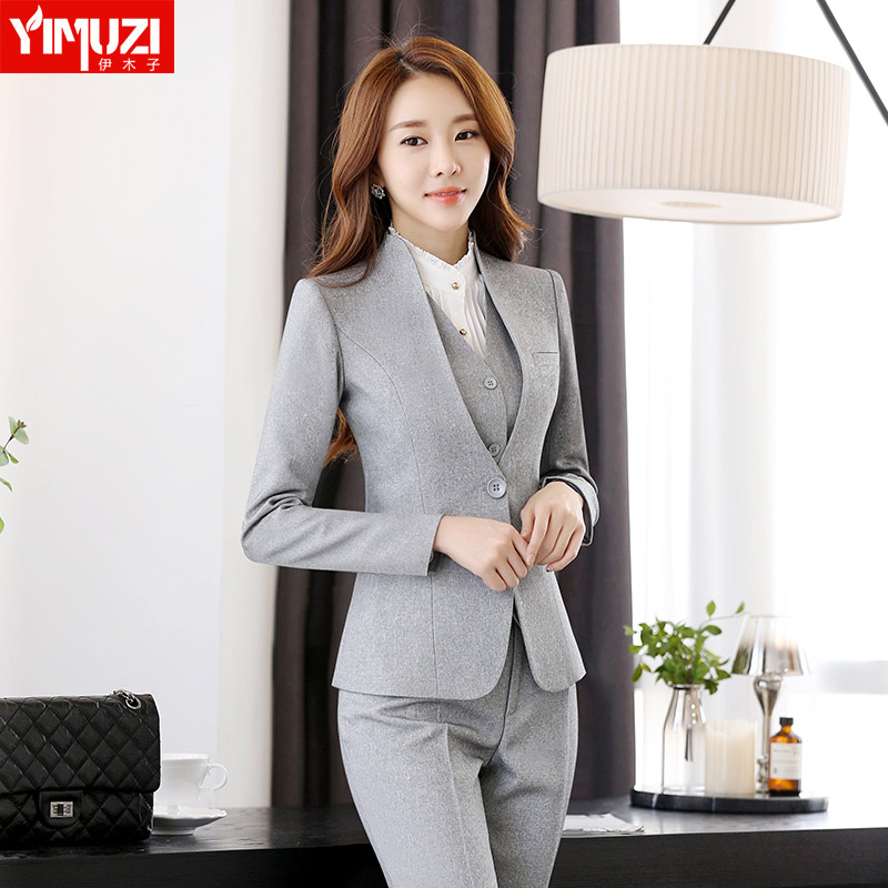 Iraq muzi autumn and winter work clothes women wear long sleeve dress suit chaps ol business dress suit trousers white collar