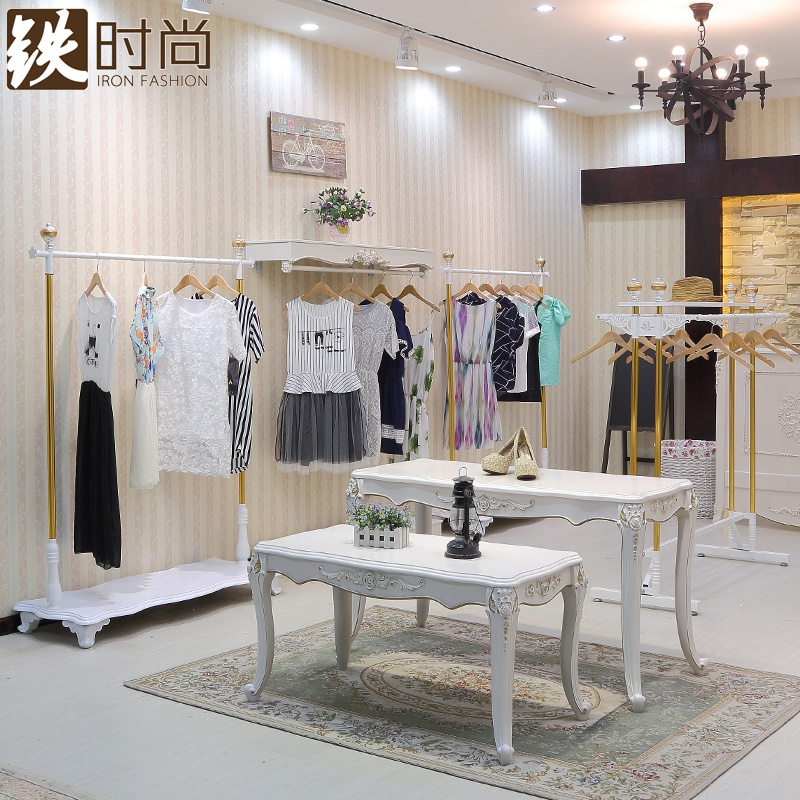 Iron fashion clothing store display rack wrought iron clothing rack hanger floor rack in the island shelf side rack clothing goods
