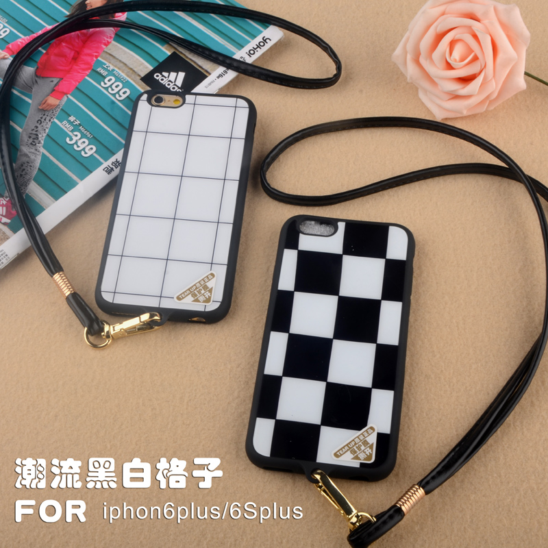 Irst fashion black and white with plaid 6splus lanyard protective shell apple iphone6plus phone shell mobile phone shell