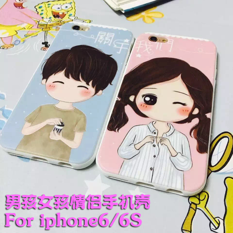 Irst iphone6 apple s mobile phone protective sleeve cartoon couple phone protective shell for men and women tide boys and girls