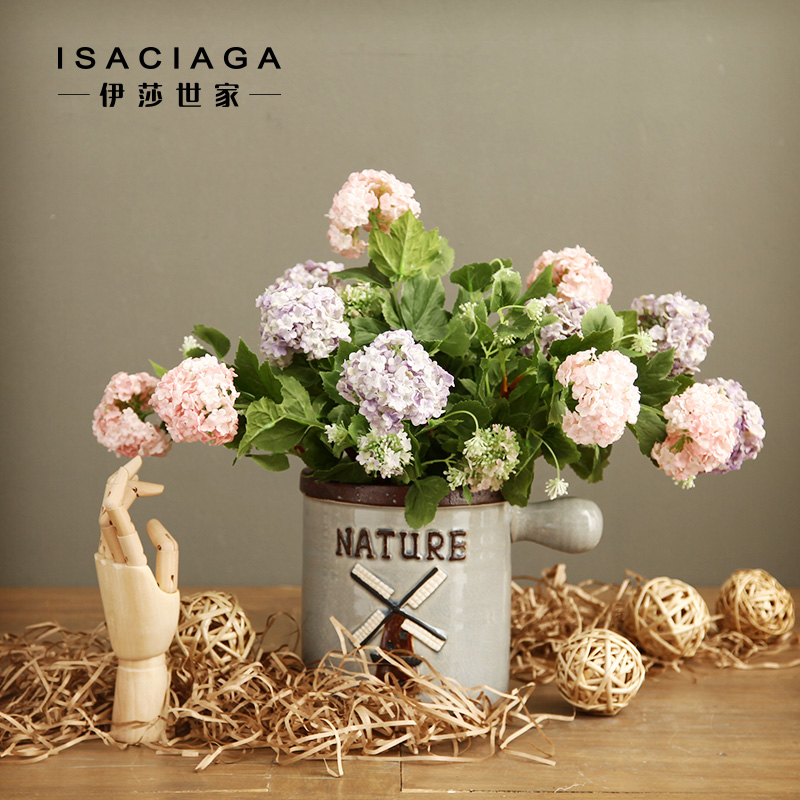 Isa family american country ceramic milk pot vase + 2 head of the beam simulation hydrangea flowers artificial flowers floral ornaments set