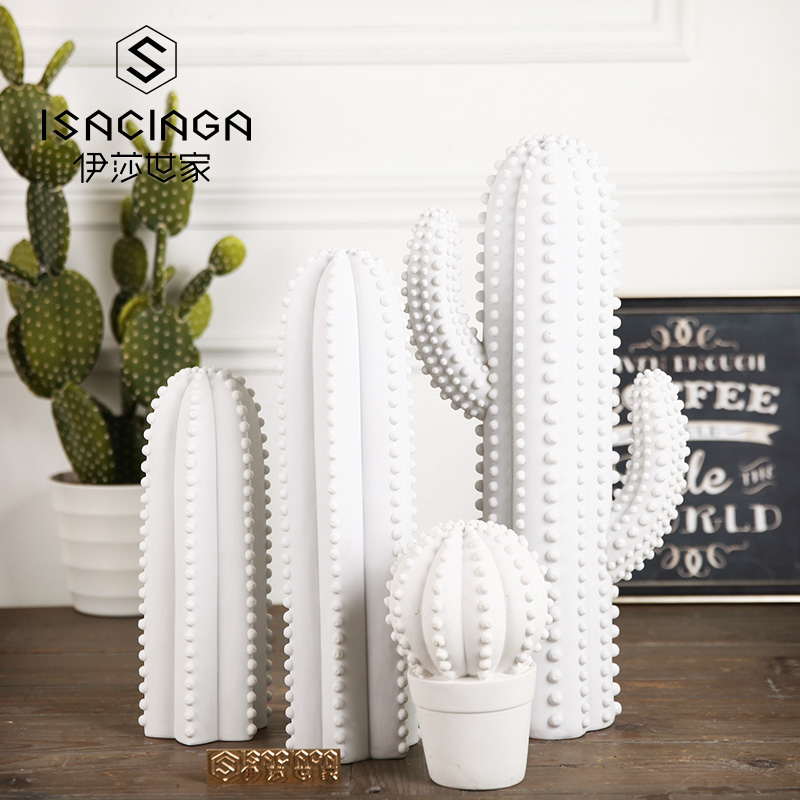Isa family cactuses scandinavian modern minimalist white ceramic ornaments home decor creative crafts