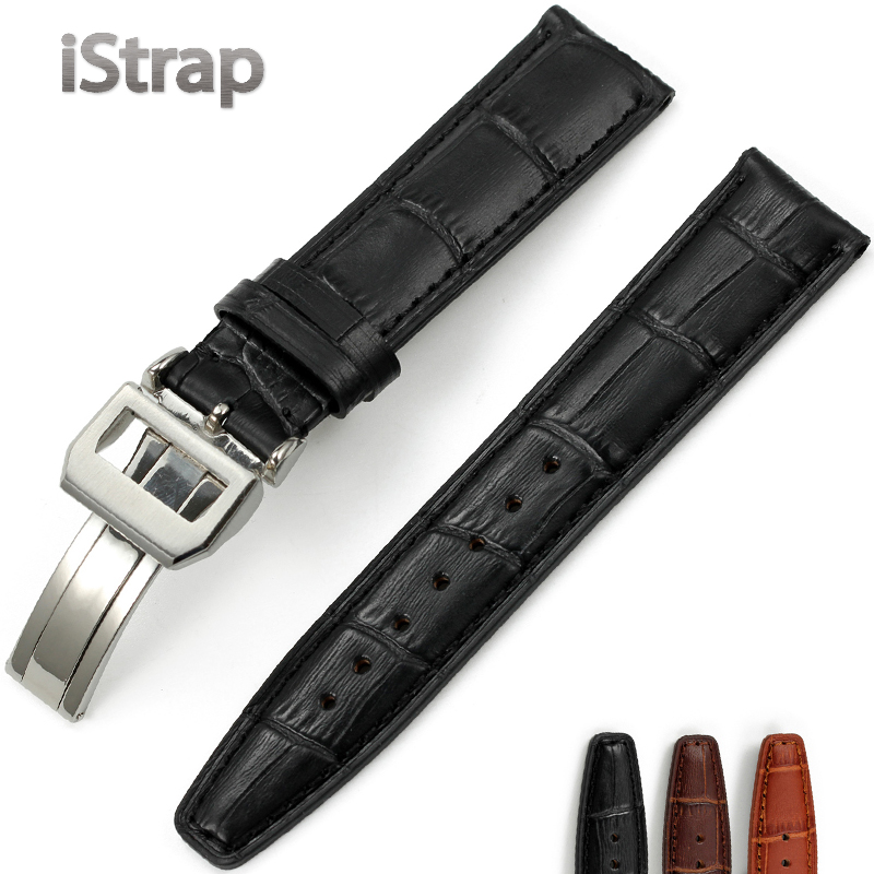 Istrap italian calfskin leather men watch with accessories 20 21 22mm substitute iwc