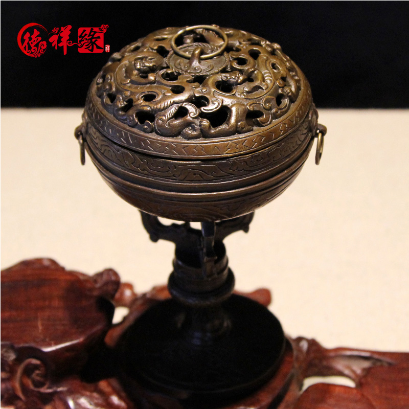 Itc edge copper temple incense censer incense sandalwood incense censer antique tray aromatherapy incense censer incense taoist with aromatherapy furnace
