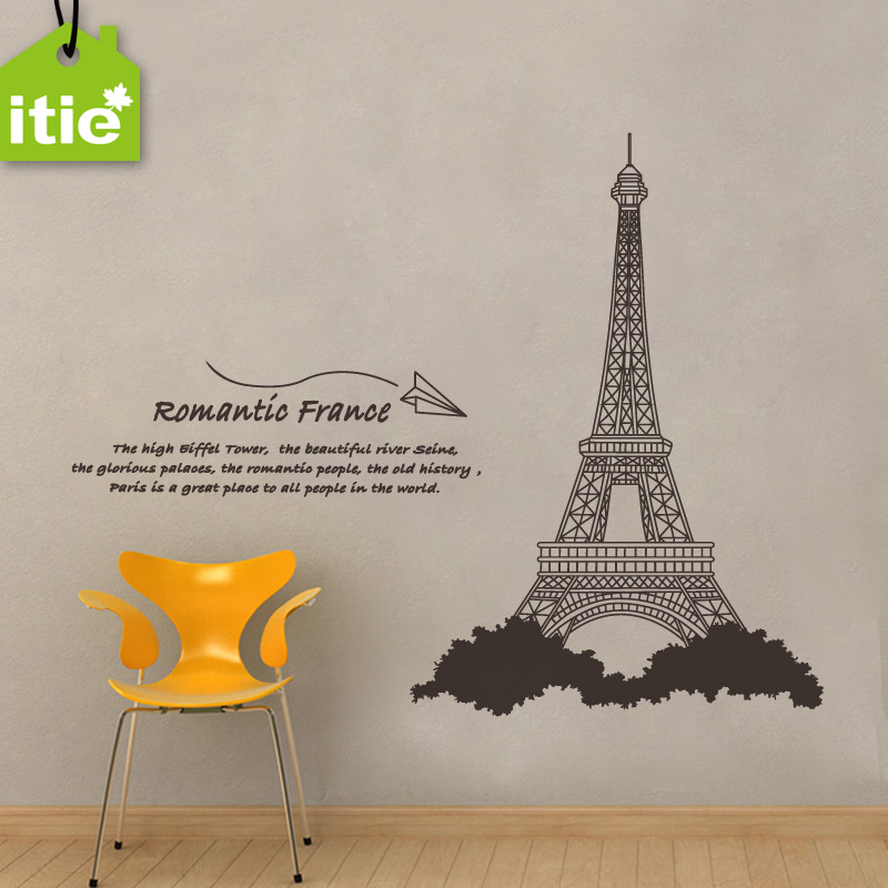 Itie love stickers wall stickers living room bedroom dining room tv ladieswear shop decorative glass window of the eiffel tower in paris