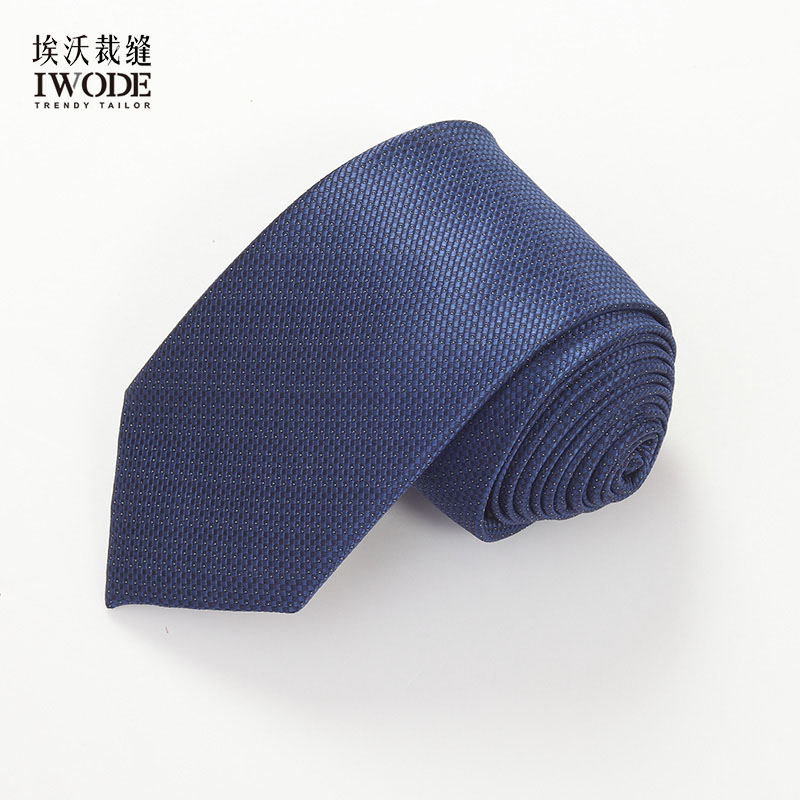 Iwode/evo summer new thin grid tie formal wear business casual blue combo