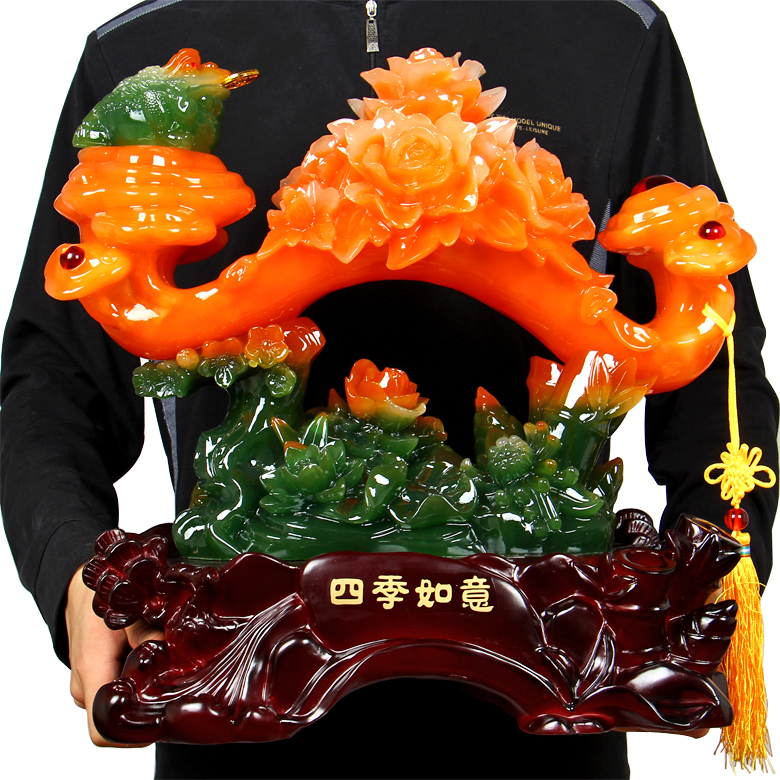 Jade peony wishful toad housewarming new home crafts living room tv cabinet wine desk ornament ornaments