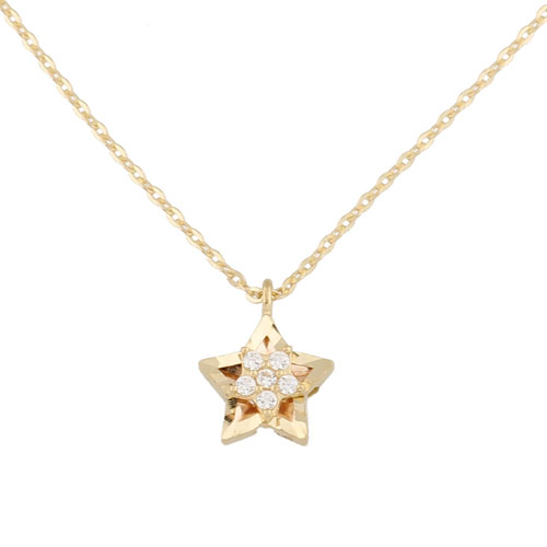 Jael korea pure k gold necklace female pentagram zircon pendant clavicle chain jewelry simple