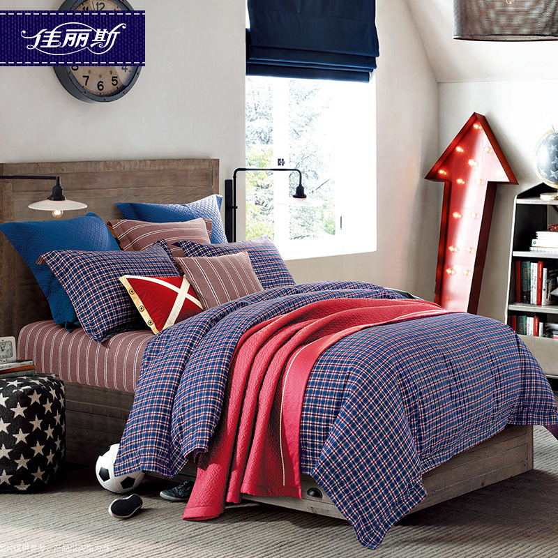 Jalice textile autumn and winter thick warm brushed cotton denim cotton bedding linen quilt kits