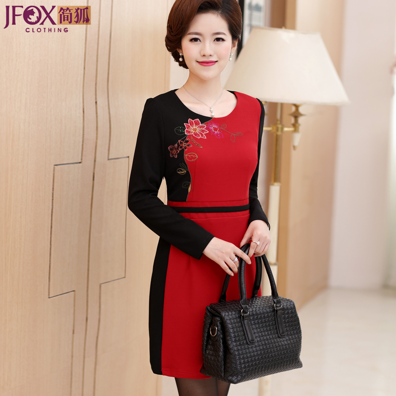 Jane fox middle-aged middle-aged women's autumn 40-50-year-old mother dress fall and winter long sleeve dress and long sections bottoming skirtç