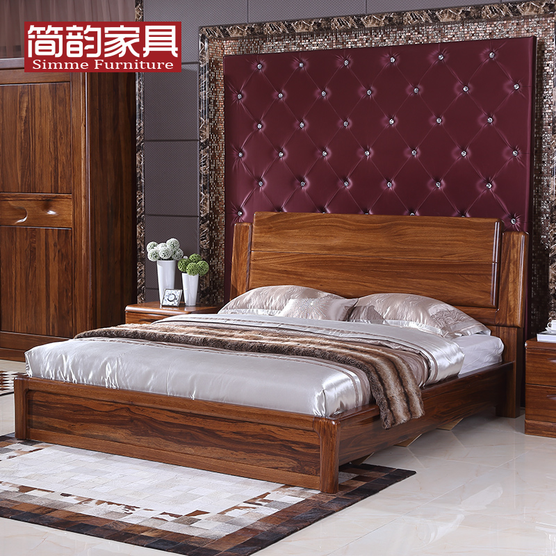 Jane rhyme all solid wood bed modern minimalist new chinese furniture bed 1.8 m high container double bed ugyen