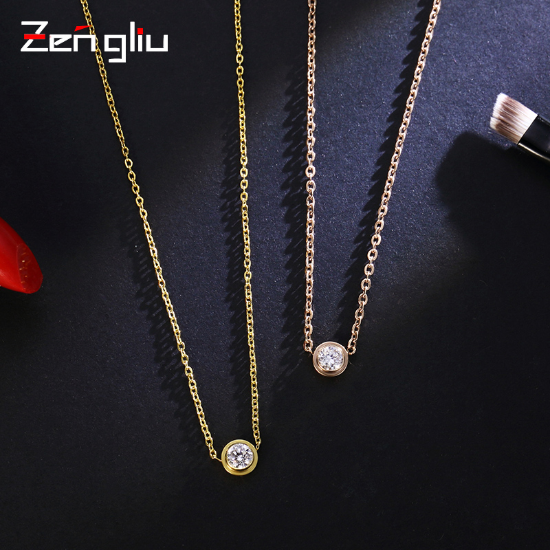 Japan and south korea artificial zircon necklace female short paragraph korean fashion simple pendant k rose gold plated titanium steel clavicle chain