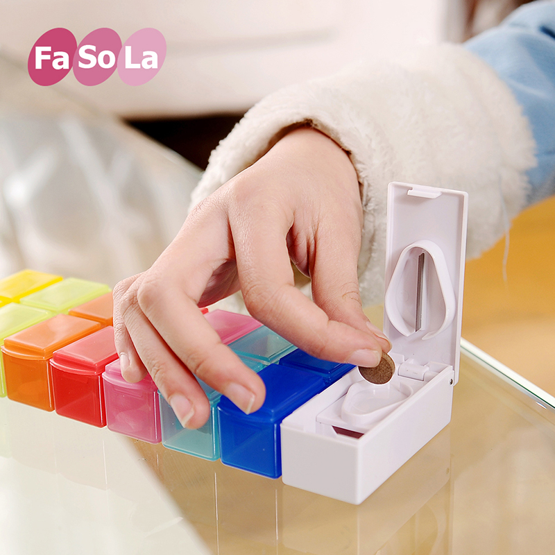 Japan fasola portable 14 colorful grid points medicine box small kit kit kit one week pill storage box with cut doser