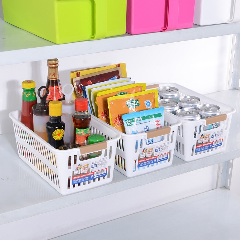 Japan's imports of rectangular plastic storage baskets storage basket kitchen bathroom storage box desktop storage basket basket finishing glove box