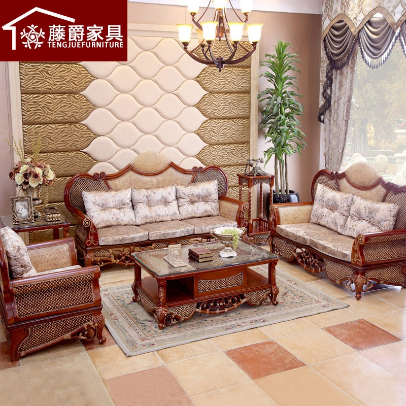 Jazz rattan rattan living room sofa wujiantao combination of solid wood sofa combination of european rattan sofa rattan sofa rattan sofa