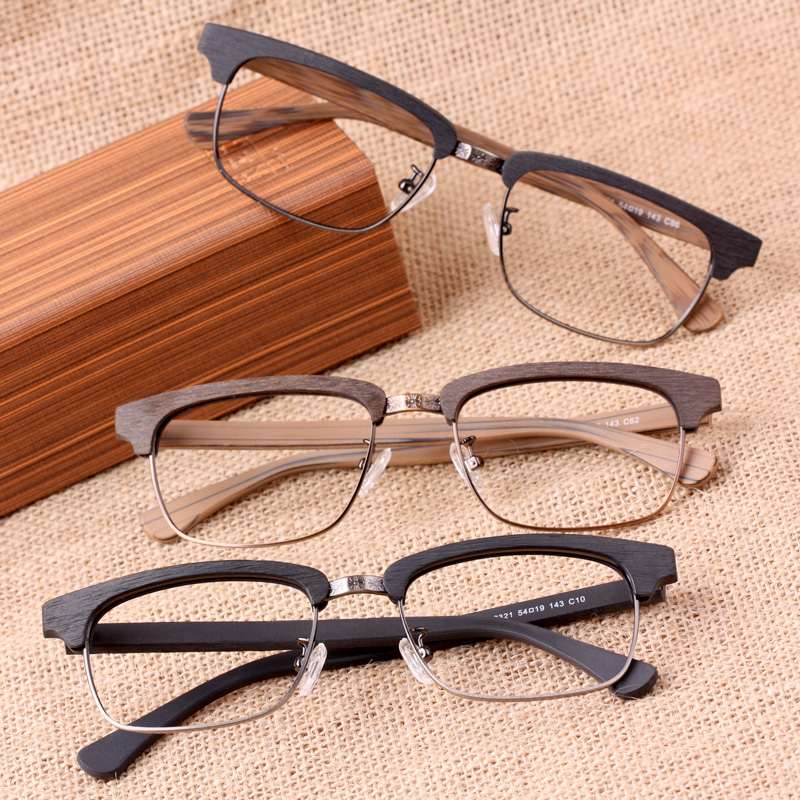 Jeke/jack wood eyebrow glasses frame myopia men and women half frame tide retro paper arts finished with eyebrow wireframe