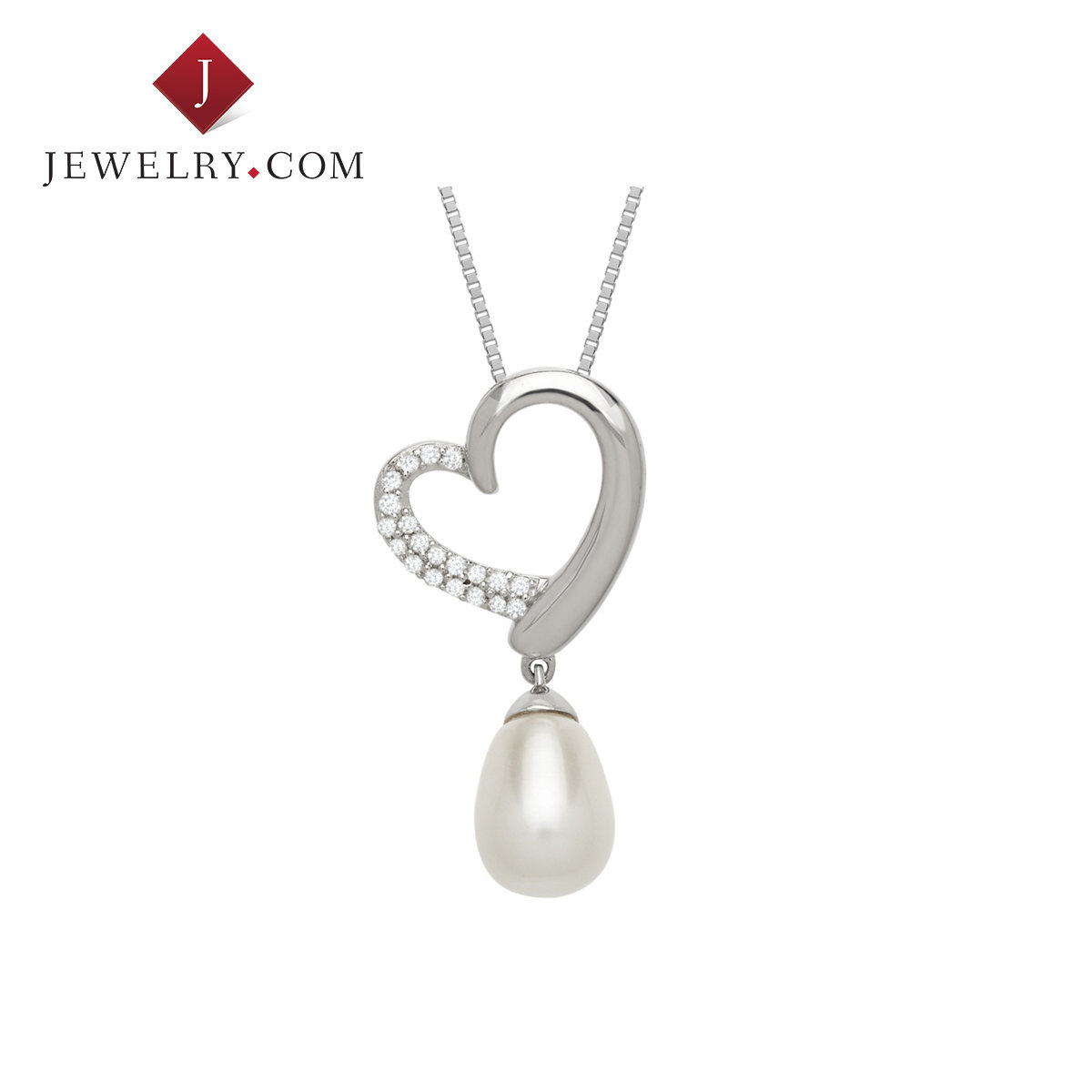 Jewelry.com official 0.1 karat diamond pearl 925 silver heart pendant charm sweet temperament lady jewelry