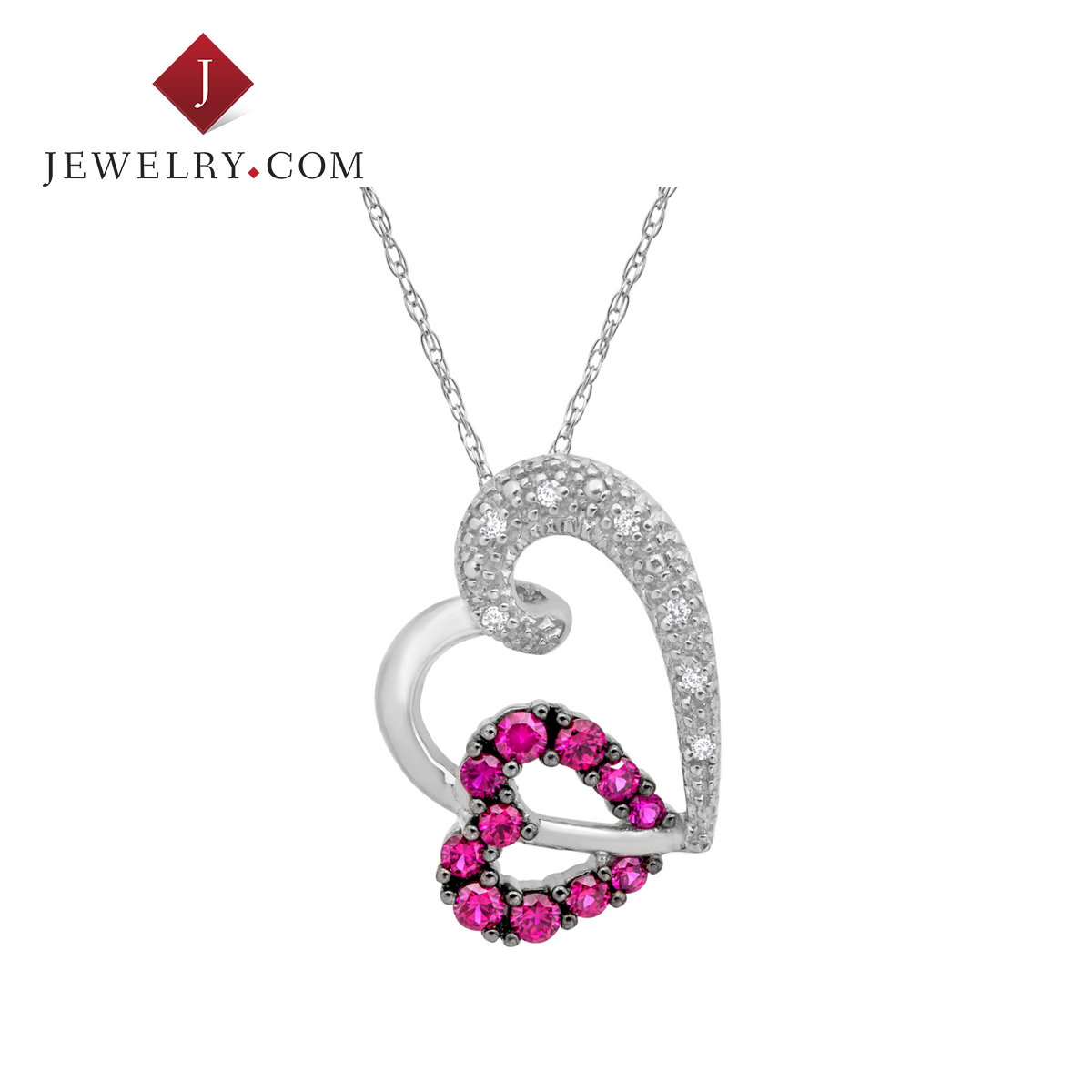 Jewelry.com official 375ct k platinum overlapping ruby diamond heart pendant ms. sweet romance