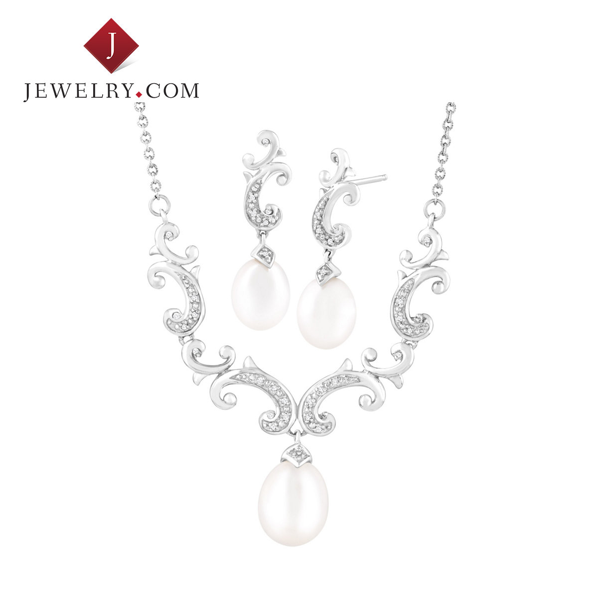 Jewelry.com official 925 silver freshwater pearl inlay 0.1 karat small diamond necklace earrings earrings set