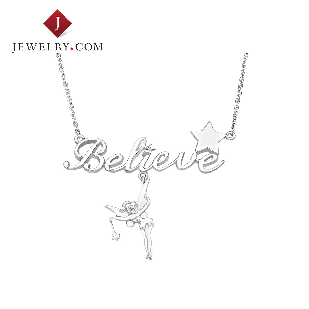 Jewelry.com official disney tinker bell fairy believe 925 silver crystal necklace female models fresh fun