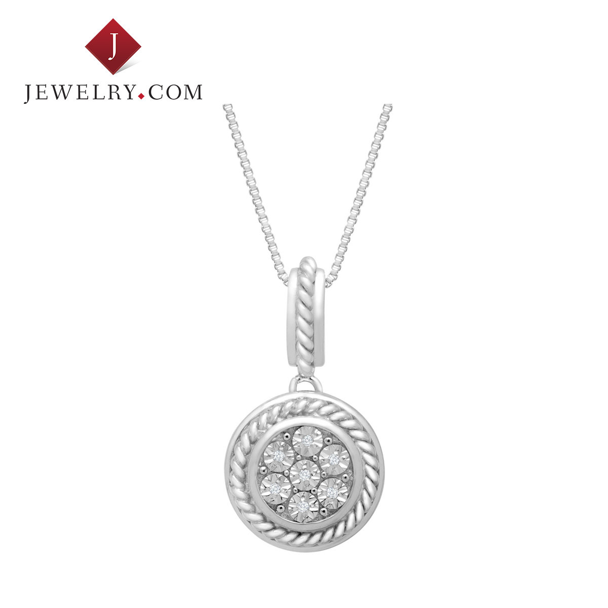 Jewelry.com official elegant simplicity ms. sterling silver inlaid diamond circular pendant european and american fashion jewelry