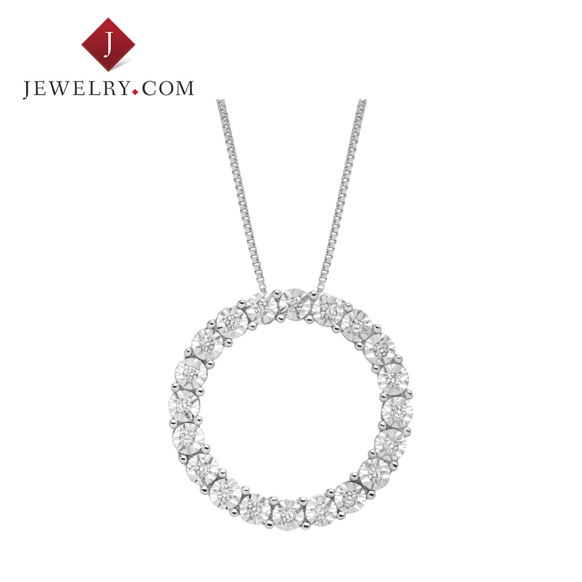 Jewelry.com official ms. charm pendant 0.1 karat k white gold round diamond inlaid fresh and simple