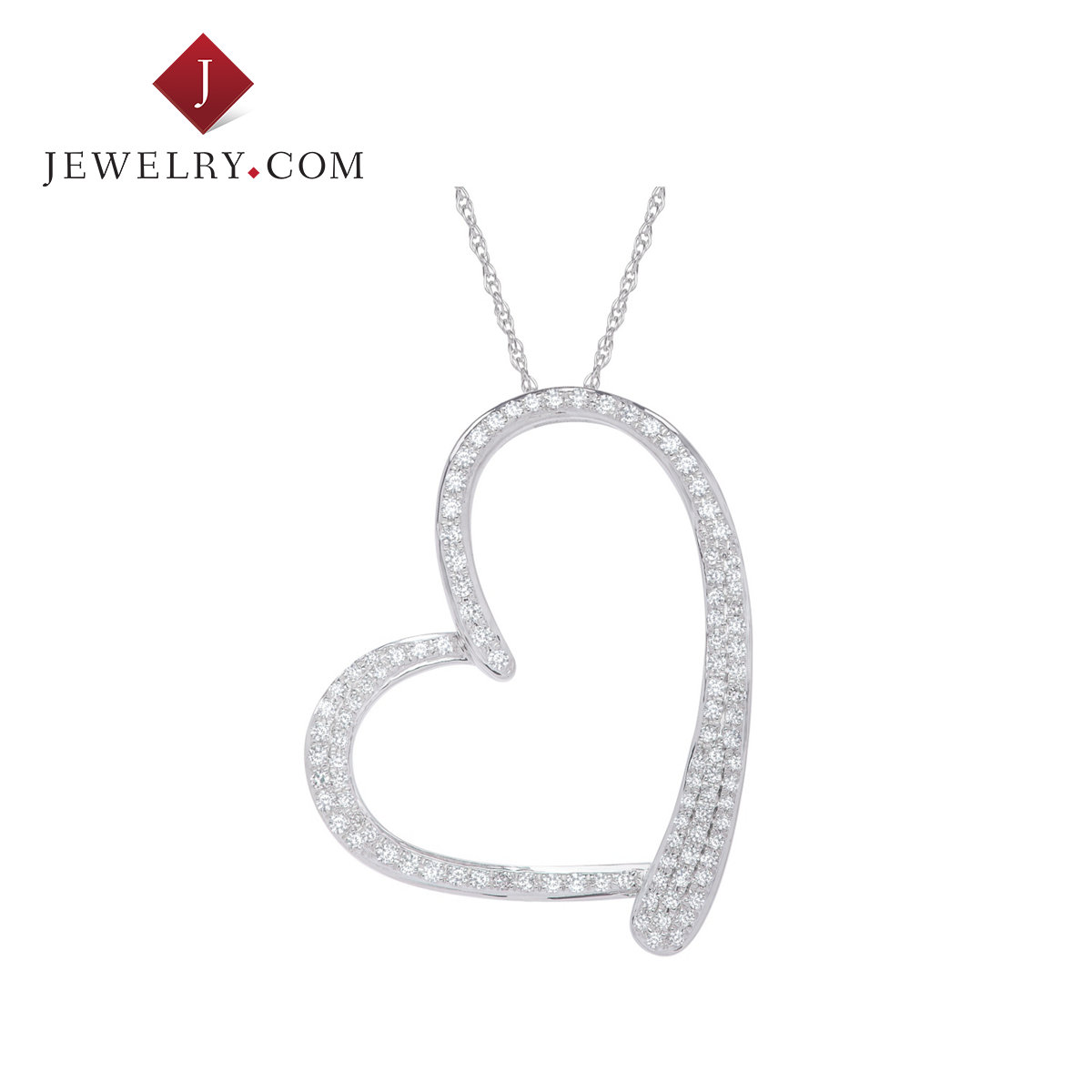 Jewelry.com official ms. heart pendant in sterling silver 0.5 karat k white gold diamond sweet fresh and elegant style
